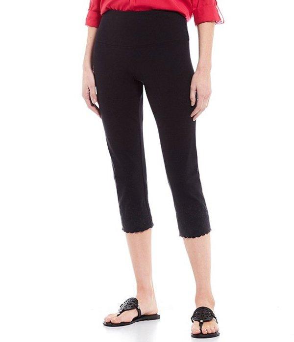 イントロ レディース カジュアルパンツ ボトムス Teri Love the Fit Scalloped Hem Capri Leggings Ebony Black
