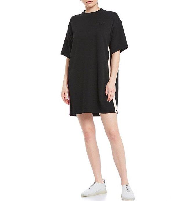 ダナ キャラン ニューヨーク レディース ワンピース トップス Sport Colorblock Embroidered Logo Short Sleeve T-Shirt Dress Black
