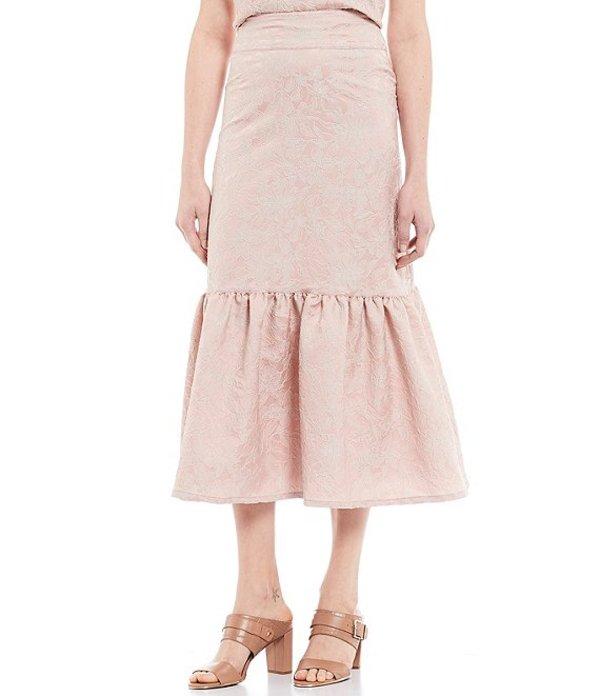 ブライン ウォーカー レディース スカート ボトムス Ready for Savannah Floral Texture Print Mid Rise Ruffle Midi Skirt Blush