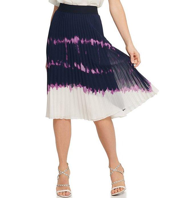 ダナ キャラン ニューヨーク レディース スカート ボトムス Chiffon Tie Dye Colorblock Print Pleated Midi Skirt Ink/Amethyst/Ivory Multi