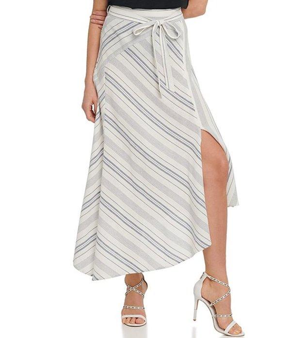 ダナ キャラン ニューヨーク レディース スカート ボトムス Linen Blend Stripe Print Pieced Panel Side Slit Asymmetric Hem Midi Skirt Ivory/Blue Stripe