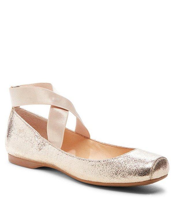 ジェシカシンプソン レディース スリッポン・ローファー シューズ Mandalaye Shimmer Square-Toe Criss Cross Ankle Straps Ballet Flats Platino