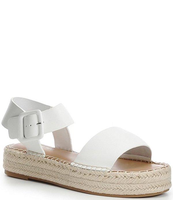 ジャンビニ レディース スリッポン・ローファー シューズ Kaygan Leather Espadrille Flatform Sandals White
