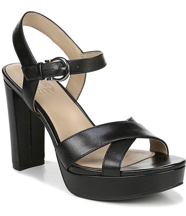 ナチュライザー レディース サンダル シューズ Mia Metallic Platform Block Heel Dress Sandals Black Leather