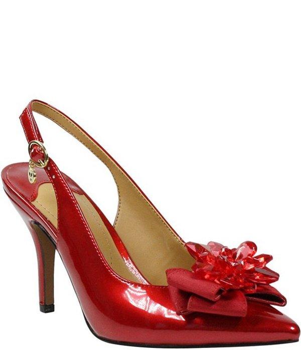 ジェイレニー レディース パンプス シューズ Denyell Pearl Patent Crystal Bow Sling Pumps Red Pearl Patent