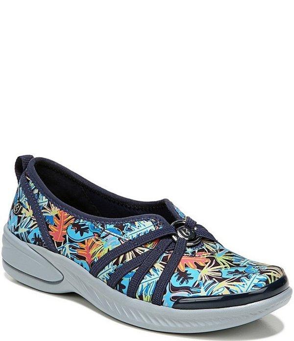 ビジーズ レディース スニーカー シューズ Niche Floral Print Jersey Slip Ons Happy Floral Blue