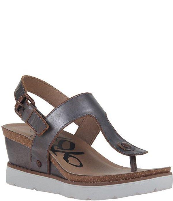 オーティービーティー レディース サンダル シューズ Boathouse Leather Thong Platform Wedge Sandals Pewter