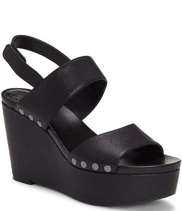 ヴィンスカムート レディース サンダル シューズ Ventinda 2 Piece Leather Platform Wedge Sandals Black