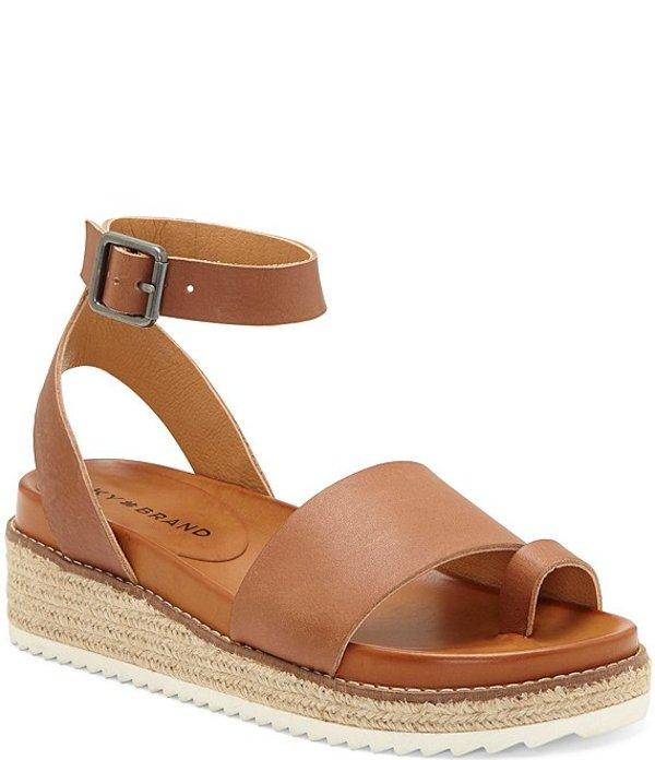 ラッキーブランド レディース スリッポン・ローファー シューズ Itolva Leather Flatform Toe Ring Sandals Latte