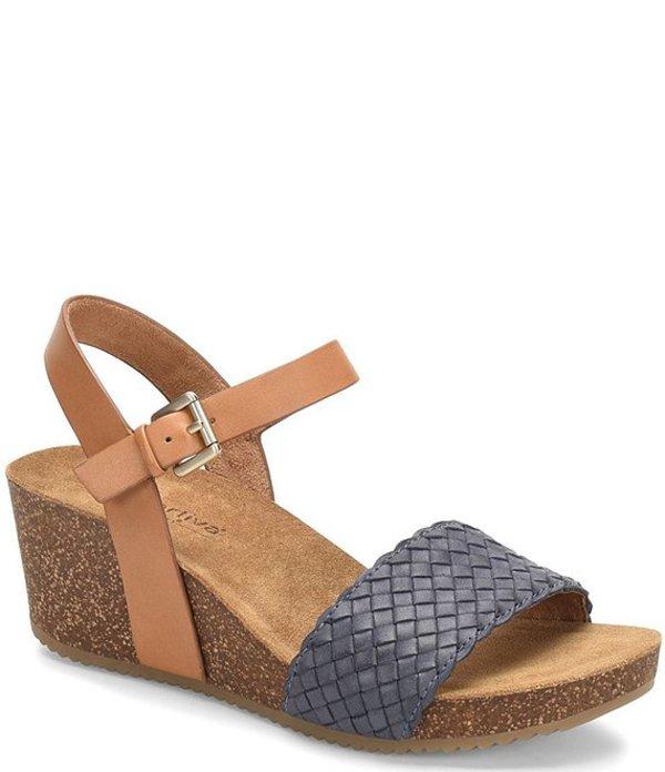 コンフォーティバ レディース サンダル シューズ Eshana Woven Leather Wedge Sandals Navy