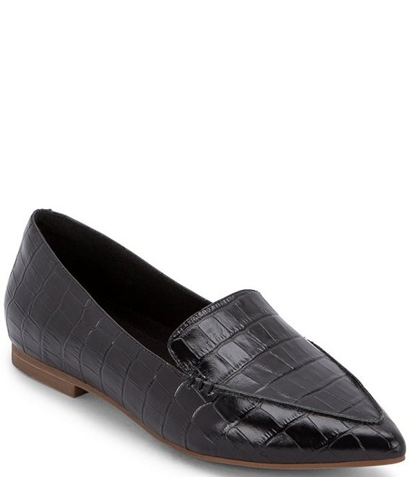 ブロンド レディース スリッポン・ローファー シューズ Silvia Waterproof Croc Print Leather Pointed Toe Loafers Black Croc