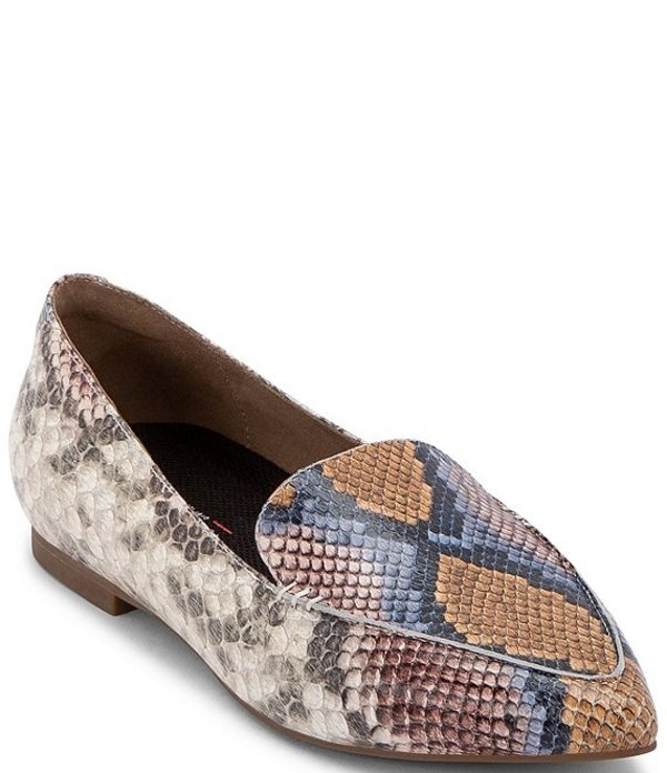 ブロンド レディース スリッポン・ローファー シューズ Silvia Waterproof Snake Print Leather Pointed Toe Loafers Multi Snake