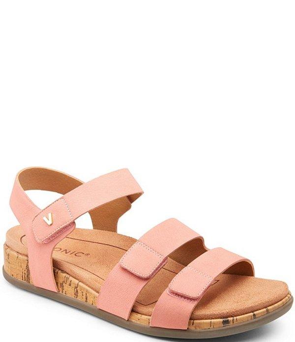 バイオニック レディース サンダル シューズ Colleen 3 Strap Leather Sandals Coral
