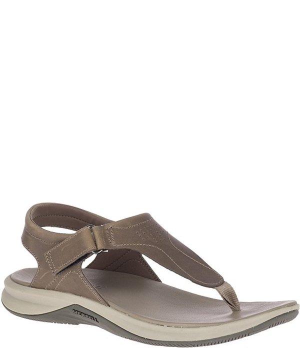 メレル レディース サンダル シューズ Tideriser Luna T Strap Salt-Resistant Leather Sandals Brindle