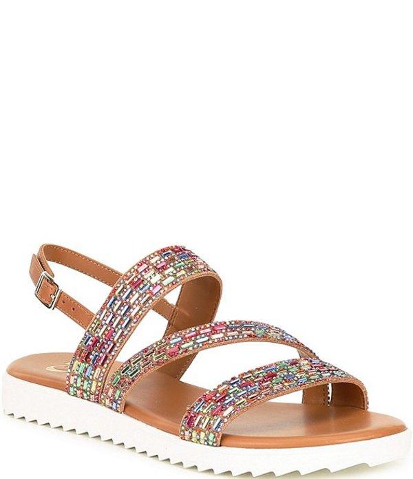 ジービー レディース サンダル シューズ Lumi-Nous Rainbow Rhinestone Embellished Leather Flatform Sandals Rainbow/Multi