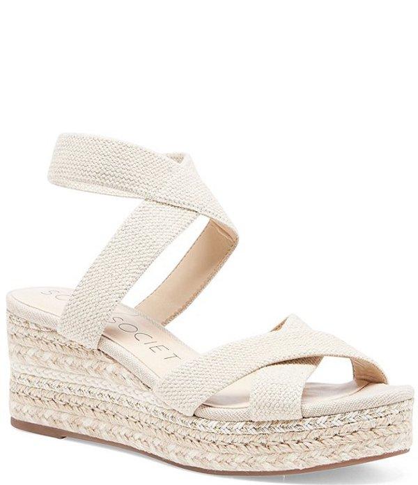 ソロソサエティ レディース サンダル シューズ Carmelina Stretch Linen Espadrille Wedge Sandals Natural
