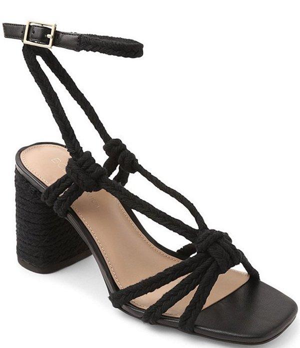 BCBジェネレーション レディース サンダル シューズ Texa Woven Jute Square Toe Block Heel Sandals Black Jute