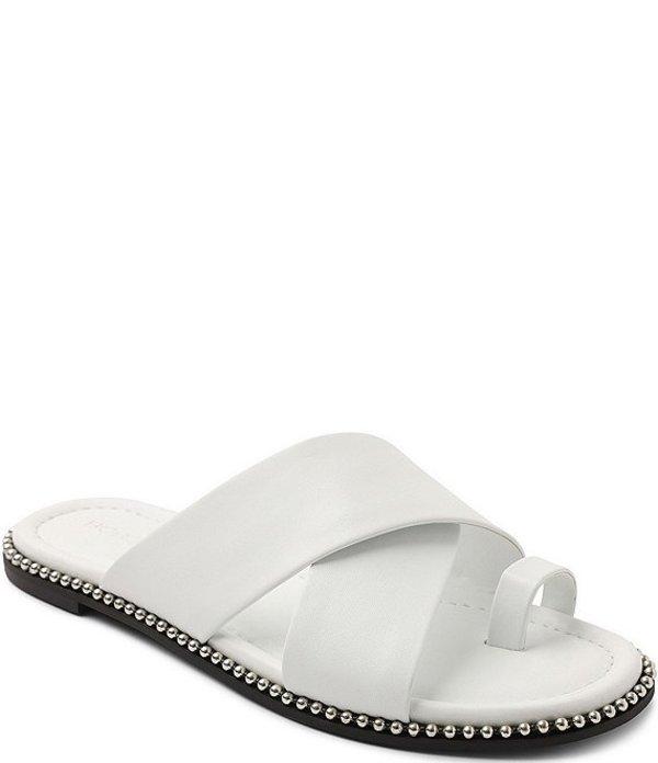 BCBジェネレーション レディース サンダル シューズ Zalli Leather Toe Loop Bead Chain Trim Slide Sandals Bright White