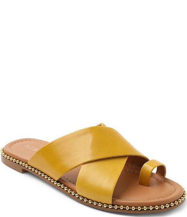 BCBジェネレーション レディース サンダル シューズ Zalli Leather Toe Loop Bead Chain Trim Slide Sandals Golden Yellow