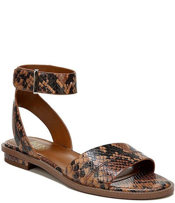 フランコサルト レディース サンダル シューズ Maxine Snake Print Leather Sandals Brown