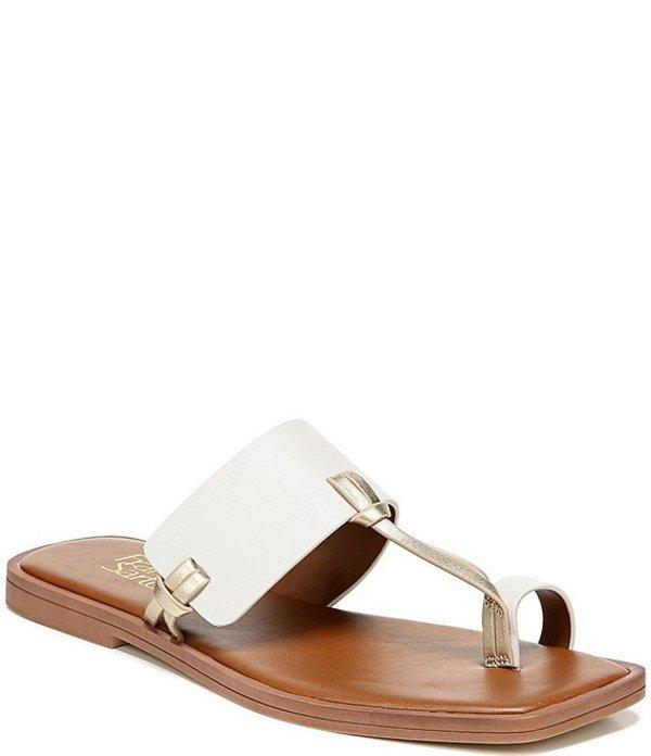 フランコサルト レディース サンダル シューズ Milly Metallic Accent Leather Toe Ring Square Toe Sandals Gold