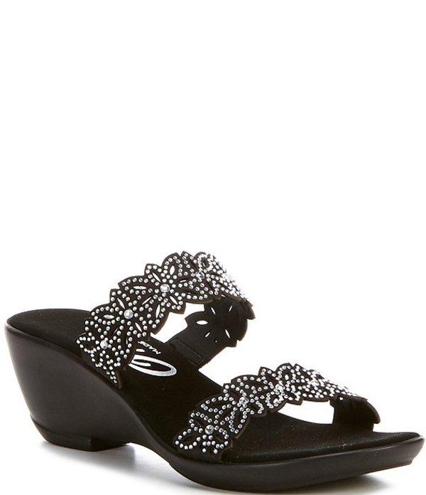 オネックス レディース サンダル シューズ Stacey Banded Floral Embellished Leather Slide Sandals Black