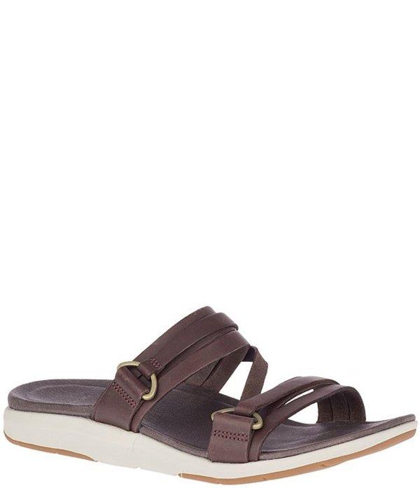 メレル レディース サンダル シューズ Kalari Shaw Banded Leather Slide Sandals Bracken
