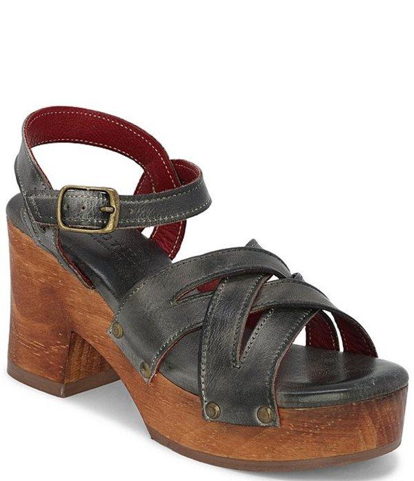 ベッドステュ レディース サンダル シューズ Paulina Leather Block Heel Platform Sandals Graphito Rustic