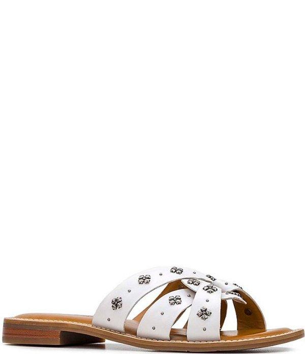 パトリシアナシュ レディース サンダル シューズ Felicita Leather Studded Slide Sandals White