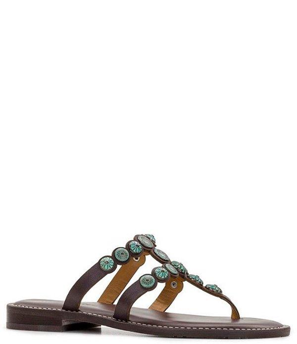 パトリシアナシュ レディース サンダル シューズ Fiorella Studded Leather Thong Sandals Chocolate