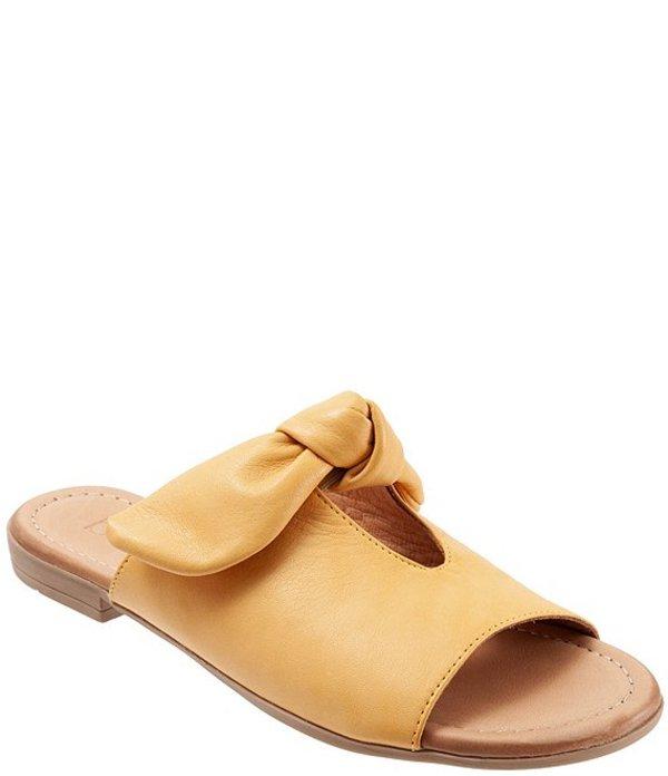 ブエノ レディース サンダル シューズ Joley Leather Big Bow Keyhole Slide Sandals Mustard