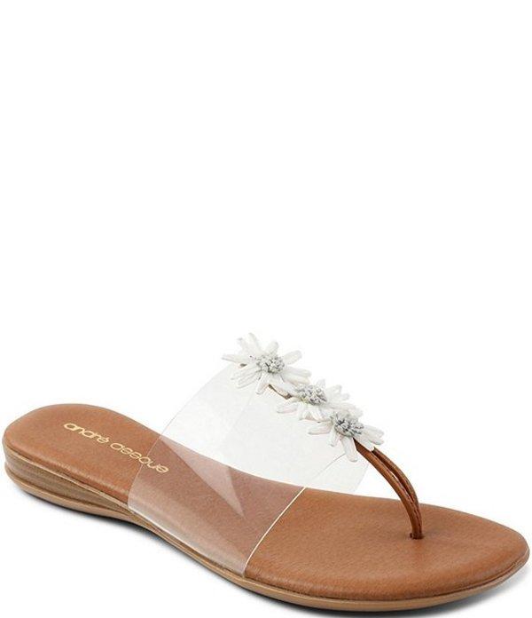 アンドレア アース レディース サンダル シューズ Nadine Raffia Flowers Clear Thong Sandals White