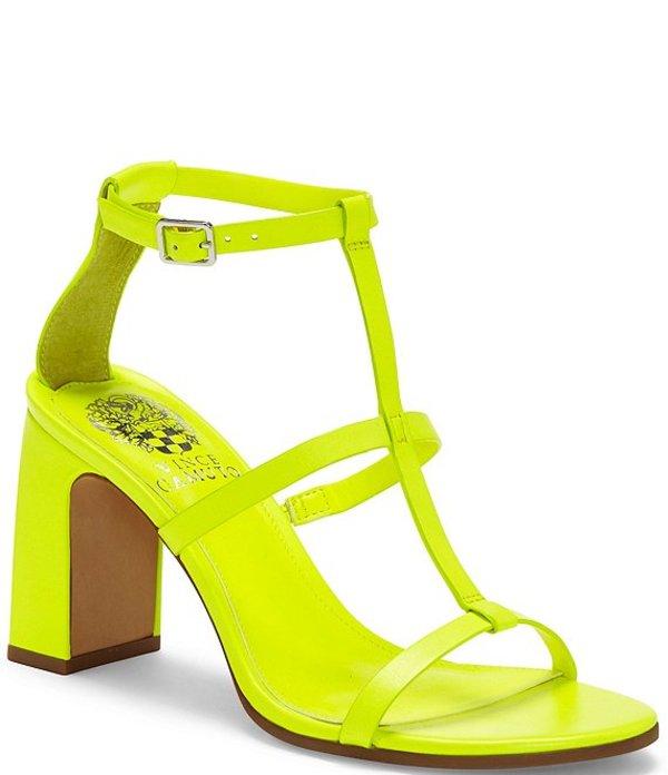 ヴィンスカムート レディース サンダル シューズ Balindah Leather T Strap Block Heel Sandals Neon Yellow