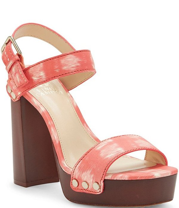 ヴィンスカムート レディース サンダル シューズ Lethalia Watercolor Leather Buckled Platform Sandals Clementine