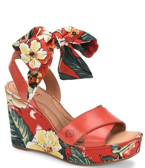 ボーン レディース サンダル シューズ Salton Leather Floral Ankle Tie Wedge Sandals Fire Red/Red
