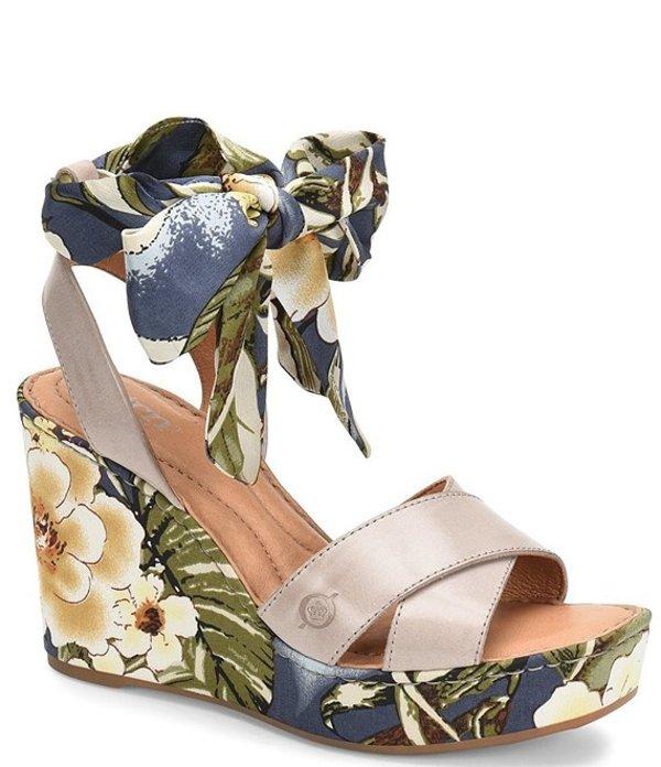 ボーン レディース サンダル シューズ Salton Leather Floral Ankle Tie Wedge Sandals Grey/Blue