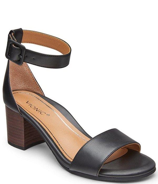 バイオニック レディース サンダル シューズ Rosie Block Heel Leather Sandals Black