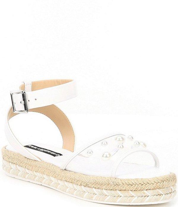 カール ラガーフェルド レディース スリッポン・ローファー シューズ Adalina Pearl Studded Flatform Espadrilles White/Clear