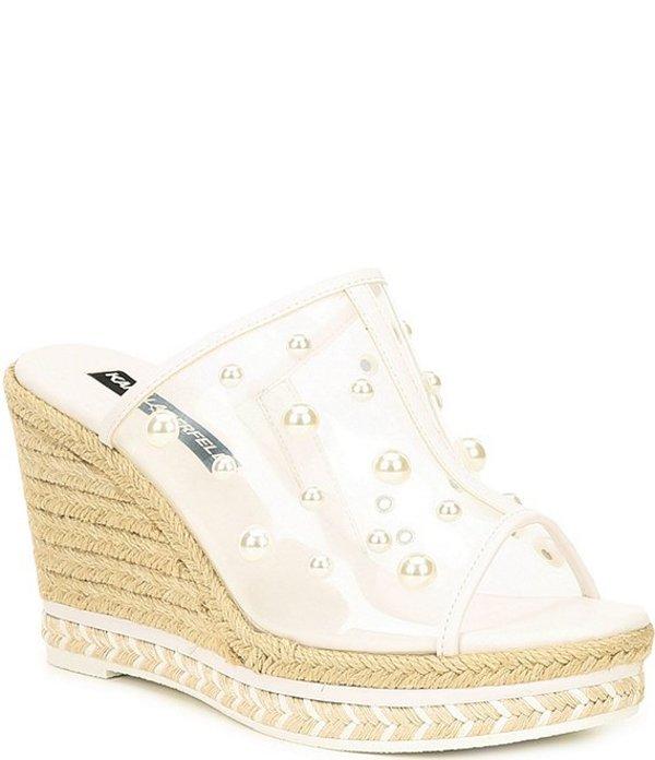 カール ラガーフェルド レディース サンダル シューズ Carita Pearl Clear Espadrille Wedges White/Clear