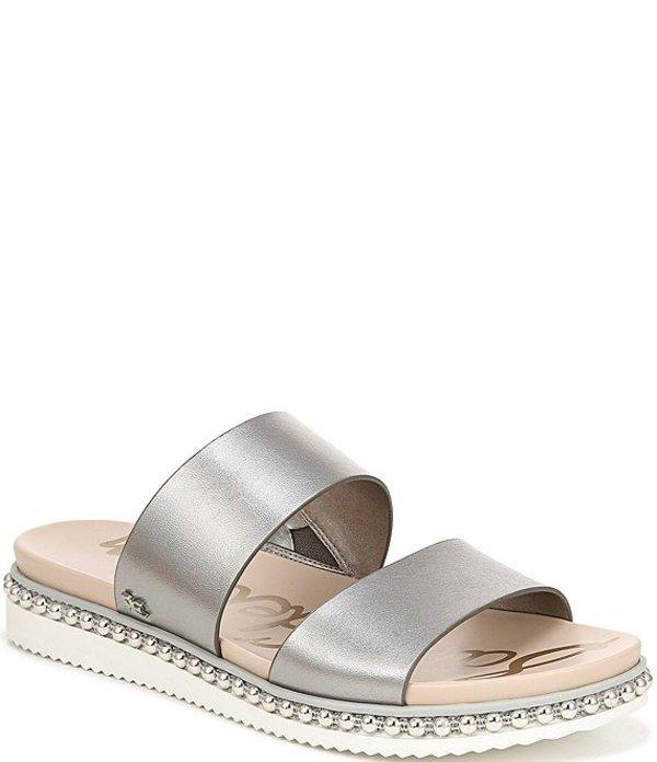 サムエデルマン レディース サンダル シューズ Asha Double Banded Metallic Leather Sandals Pewter