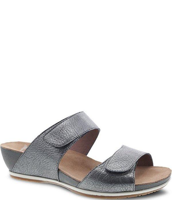 ダンスコ レディース サンダル シューズ Vienna Metallic Leather Slide Sandals Graphite