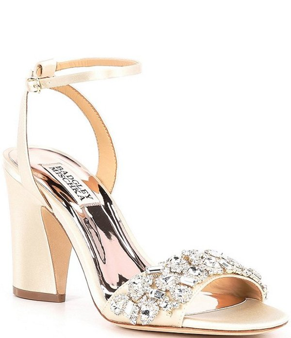 バッジェリーミシュカ レディース サンダル シューズ Jill Crystal Embellished Satin Dress Sandals Ivory