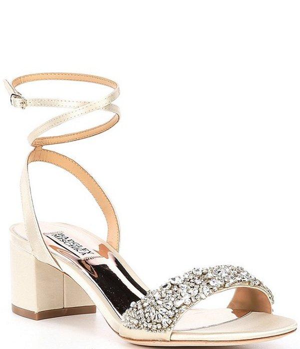 バッジェリーミシュカ レディース サンダル シューズ Jada Crystal Embellished Satin Dress Sandals Ivory