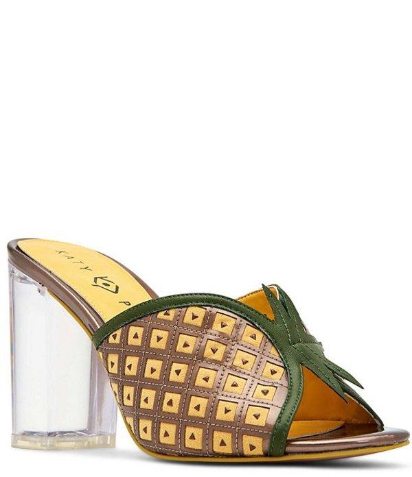 ケイティ ペリー レディース サンダル シューズ The Coolada Clear Block Heel Pineapple Slides Pineapple/Bronze