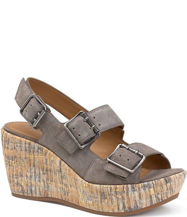 トラスク レディース サンダル シューズ Patsy Suede Cork Wedge Sandals Grey