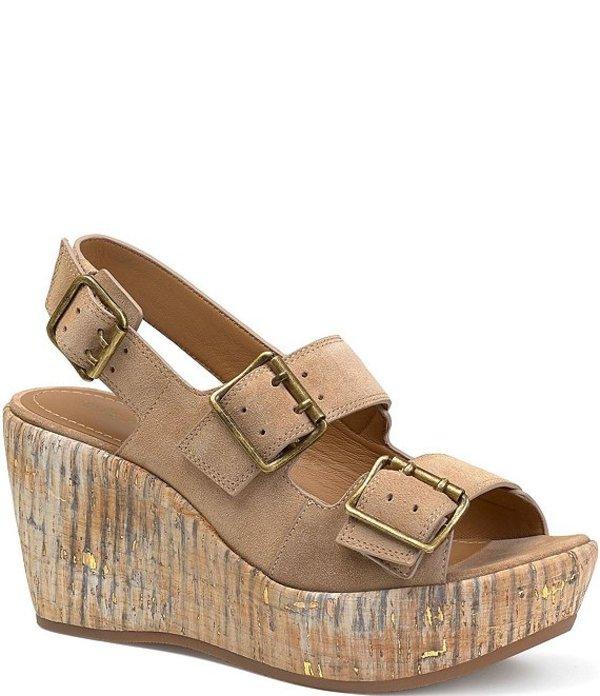 トラスク レディース サンダル シューズ Patsy Suede Cork Wedge Sandals Taupe
