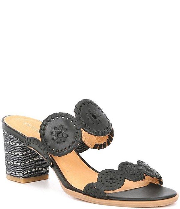 ジャックロジャース レディース サンダル シューズ Lauren Leather Block Heel Sandal Mules Black