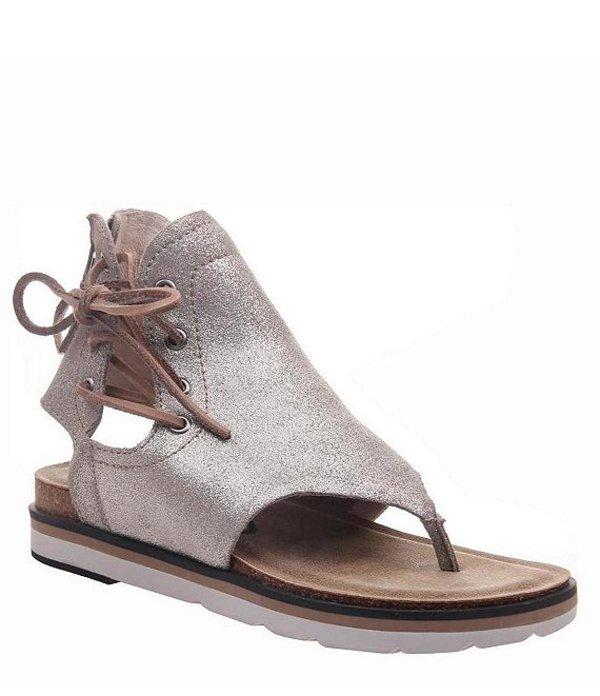 オーティービーティー レディース サンダル シューズ Locate Metallic Leather Thong Sandals Grey Silver