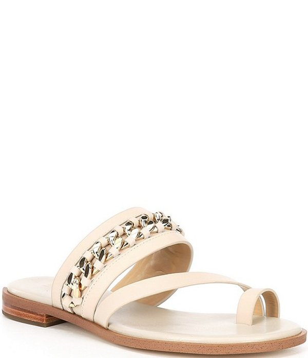 マイケルコース レディース サンダル シューズ MICHAEL Michael Kors Bergen Leather & Chain Embellished Flat Sandals Light Sand