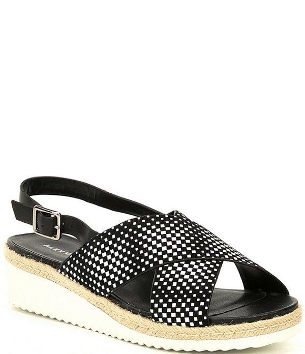 アレックスマリー レディース サンダル シューズ Biciane Cross-Band Leather Wedge Sandals Black/White